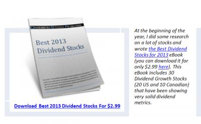 TSX 60 Ex Dividend Date + Best 2013 Dividend Stock Update +20.03%