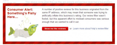 Yelp Consumer Alert for Fake Reviews