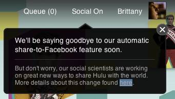 Hulu turns off auto-sharing to Facebook