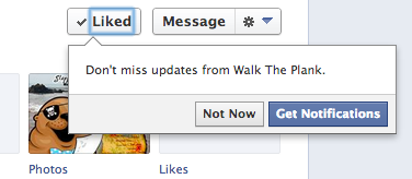 Facebook prompts fans to get notifications after liking a page