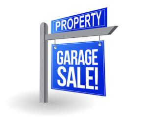 blue sign garage sale